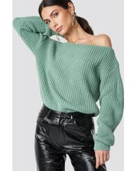 Glamorous - Off Shoulder Knitted Top Dusty Mint - Lyst