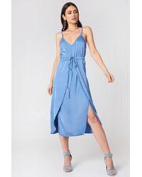 NA-KD - Satin Look Midi Dress - Lyst