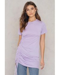 Boohoo - Rouched Side T-shirt Dress Lilas - Lyst