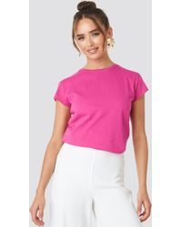 NA-KD - Raw Edge Tee Strong Pink - Lyst