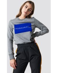 Calvin Klein - Institutional Flock Box Reg Jumper Mid Grey Heather - Lyst