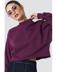 NA-KD - Raw Hem Batwing Sweatshirt Bordeaux - Lyst
