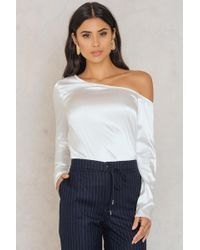 6a8195ef44485 Lyst - Guess Eyelet Off-the-shoulder Emma Top in White