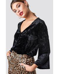 Rut&Circle - Velvet Button Bodysuit Black - Lyst