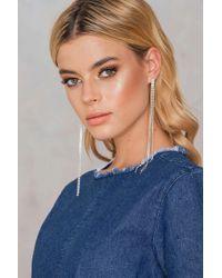 NA-KD - Hanging Rhinestone Earrings - Lyst