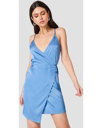 NA-KD - Wrapped Satin Dress Stone Blue - Lyst