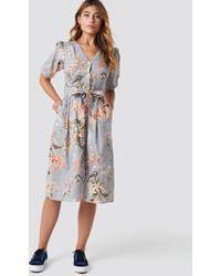 Mango - Floral Linen-blend Dress - Lyst