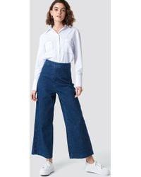 NA-KD - Classy Culotte Denim Pants Dark Blue - Lyst