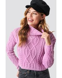 Glamorous - Cable Knitted Jumper Pink - Lyst
