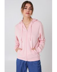 NA-KD - Basic Zipped Hoodie Light Pink - Lyst