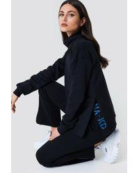 NA-KD - Slit Embroidery Sweatshirt Black - Lyst