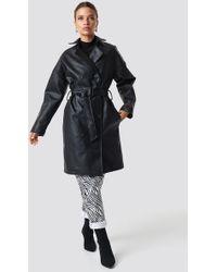 NA-KD - Double Breasted Pu Coat Black - Lyst