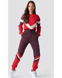 NA-KD - Stripe Blocked Sweatpants Dark Red - Lyst