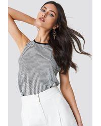 Mango - Striped Linen-blend T-shirt - Lyst
