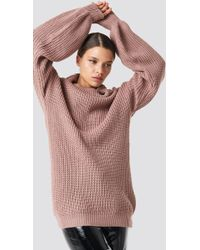 NA-KD - High Neck Oversized Knitted Sweater Dusty Pink - Lyst