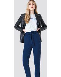 NA-KD - Tied Waist Pants Dark Blue - Lyst