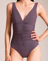 Karla Colletto - Basic Ruched V-neck Swimsuit - Lyst