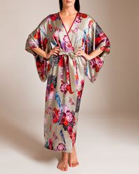 Meng Silk Satin Long Kimono