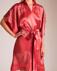 Carine Gilson - Rose's 3⁄4 Silk Satin Kaftan Kimono - Lyst