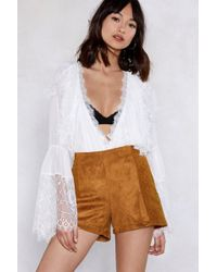 Nasty Gal - Come To Your Vegan Suede Shorts - Lyst