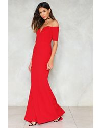 Nasty Gal - Look Me In The Heart Off-the-shoulder Dress - Lyst