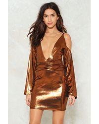 Nasty Gal - Metallic Cold Shoulder Dress Metallic Cold Shoulder Dress - Lyst
