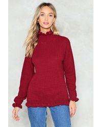 Nasty Gal - Ruffle Neck Oversized Sweater - Lyst