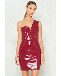 Nasty Gal - One More Vinyl Thing One Shoulder Dress - Lyst