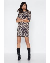Nasty Gal - This Time Baby Zebra Tee Dress - Lyst