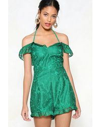 """Nasty Gal - """"greatest Lace Of All Cold Shoulder Romper"""" - Lyst"""