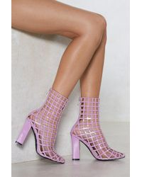 Nasty Gal - The Cage Is Set Faux Leather Bootie - Lyst