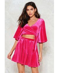 Nasty Gal - Box Pleat Velvet Skater Skirt In Lipstick Pink Box Pleat Velvet Skater Skirt In Lipstick Pink - Lyst