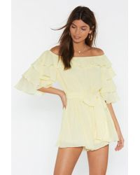 "Nasty Gal ""move In For The Frill Off-the-shoulder Romper"""