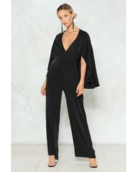 Nasty Gal - Cape Up The Good Work Plunging Jumpsuit - Lyst