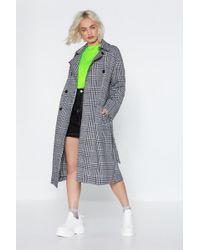 Nasty Gal - Gimme A Check Wool Coat - Lyst