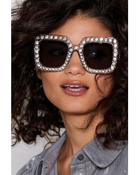 Nasty Gal - Square Diamante Shades - Lyst
