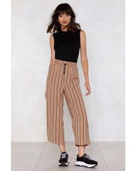 Nasty Gal - Do What Is Stripe Cropped Trousers - Lyst