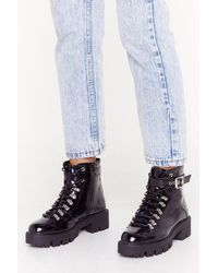 """Nasty Gal - """"take A Hiker Faux Leather Buckle Boots"""" - Lyst"""