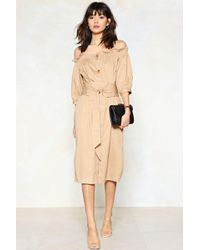 Nasty Gal - Button The Move Midi Dress - Lyst