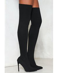 Nasty Gal - Knitted Over The Knee Boot Knitted Over The Knee Boot - Lyst