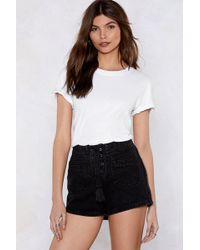 Nasty Gal - Set The Lace-up Denim Shorts - Lyst