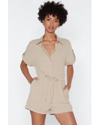 Nasty Gal - You Tied That Right Utility Romper - Lyst
