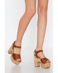 Nasty Gal - Make Yourself At Dome Cork Platform Sandals - Lyst