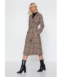 "Nasty Gal - ""check Belted Trench"" - Lyst"
