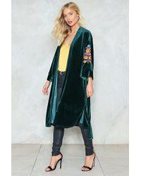Nasty Gal | Velvet Embroidered Sleeve Kimono Velvet Embroidered Sleeve Kimono | Lyst