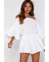 c4f26c279e0 Nasty Gal - Pearl Gone Wild Off-the-shoulder Romper - Lyst
