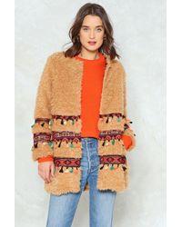 Nasty Gal - Teddy Fur Tapestry Trim Coat Teddy Fur Tapestry Trim Coat - Lyst