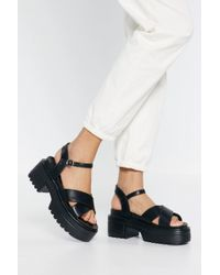 "Nasty Gal - ""watch Your Step Faux Leather Platform Sandals"" - Lyst"