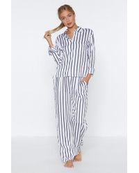 Nasty Gal - Dream Come True Striped Shirt And Trousers Pyjama Set - Lyst