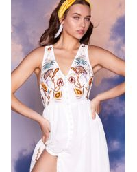 Nasty Gal - Studio Farrah Embroidered Dress - Lyst